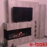 Τζάκι βιοαιθανόλης 2 όψεων με ξύλινη επένδυση με εκτύπωση τσιμέντου ειδική κατασκευή TB44 e-tzaki.gr